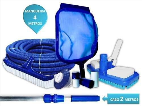 Kit De Limpeza Para Piscinas Fibra/ Viinil / Alvenaria Com Clorador Cabo De 2 Mts Mangueira De 4 Mts Aspirador