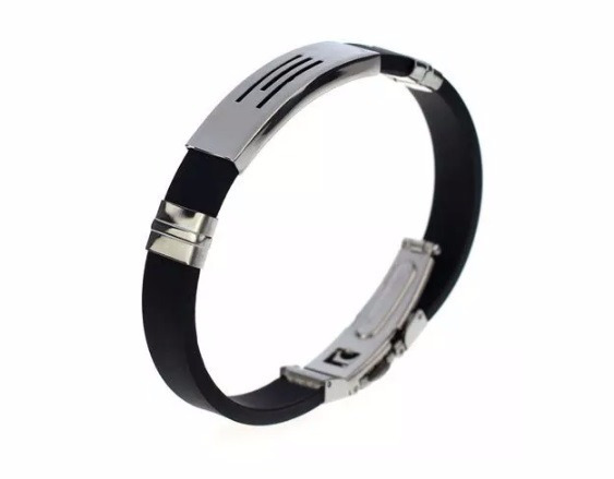 Pulseira Masculina Bracelete De Silicone Aço Inoxidável