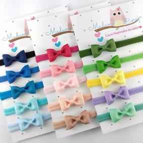 Kit Com 15 Faixa Mini Laço Bebê Menina Recém Nascido Enxoval
