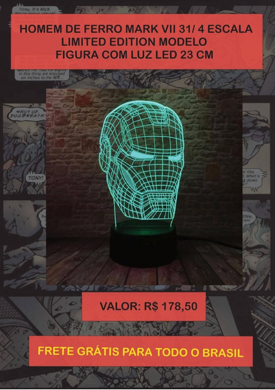 Luminária Marvel Homem De Ferro 3d Led 7 Cores / C Remoto
