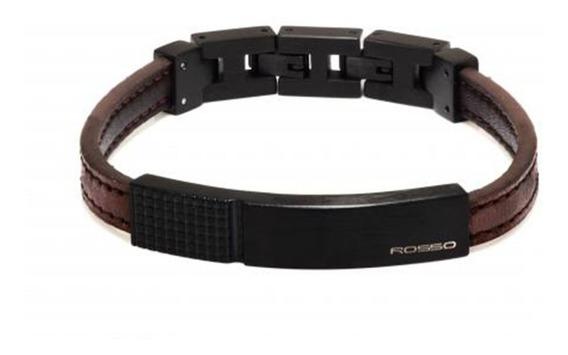 Bracelete Rosso De Couro Marrom Placa Black Linha Coffee