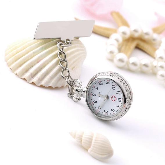 Reloj Enfermera Doctor Metalico Decorado Cadena Prendedor