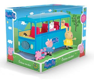 Veículo E Mini Figura - Ônibus Escolar - Peppa - Dtc