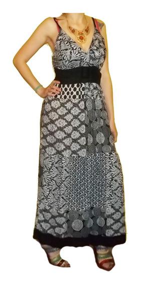 Vestido Solero Hindú Importado India Algodón L Xl Hippie