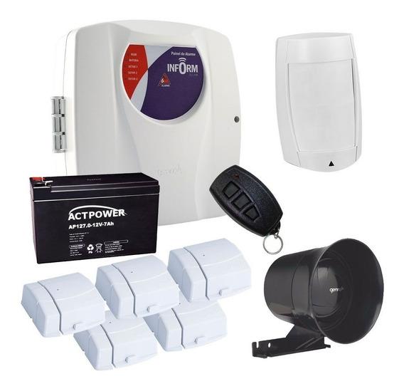 Kit De Alarme 6 Sensores Genno Residencial E Comercial S/f