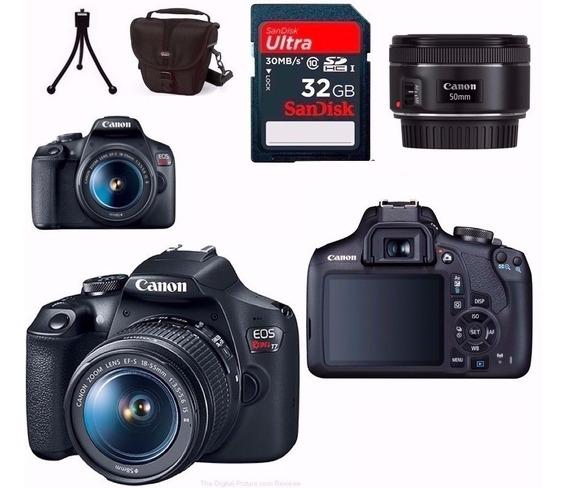 Câmera Canon T7+18-55+50mm 1.8 Stm+bolsa+32gb+tripé Nfe R.a