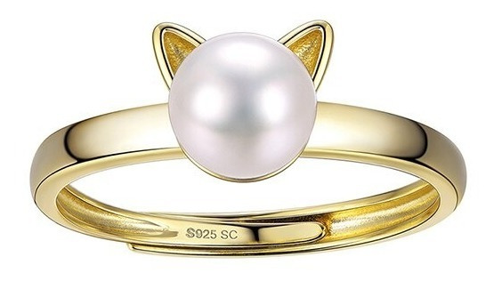 Eskaparate Anillo Gato Con Perla En Plata De Ley 925 Chapado En Oro Amarillo De 18k Anillo De Plata Para Mujer