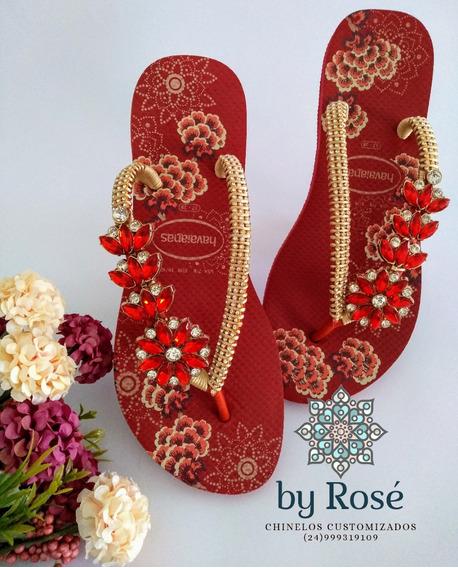 Chinelos De Luxo Customizados Com Pecas Banhadas A Ouro.