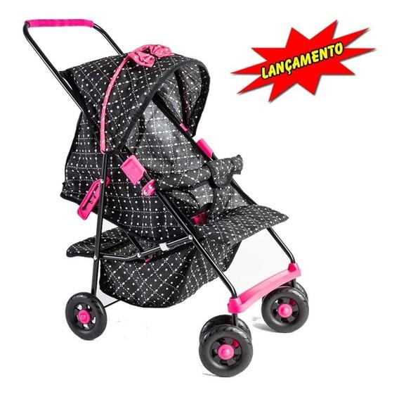 Carrinho De Boneca Bebe Reborn Milano Luxo Preto E Pink !!