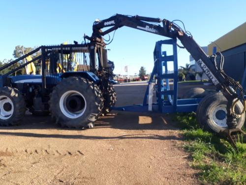 Tractor Con Grappo Y Carreta Forestal