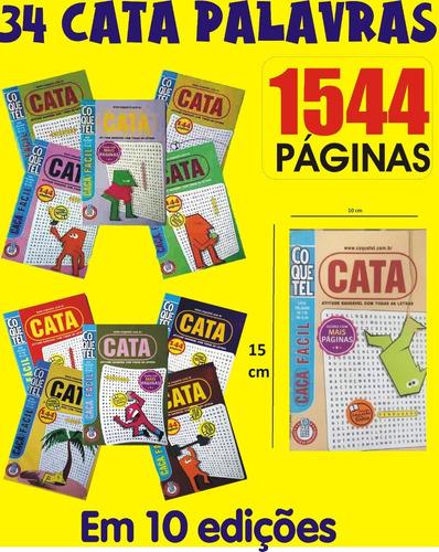 Kit 34 Caça Palavras Cata Mini Fácil Coquetel (10 Edições)