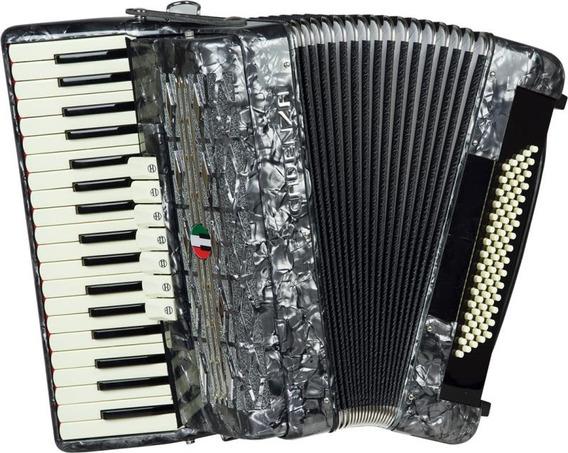 Acordeon 80 Baixos Cadenza Cd80/37 Cinza - Case E Alça