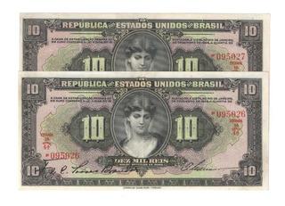 R 184 10 Mil Reis 2 Cedulas Seriadas Sobs/fe Rarissimo Cr040
