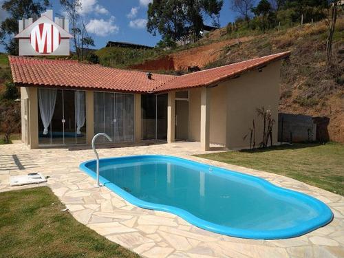 Linda Chácara, Vista Maravilhosa, Piscina Em Ótimo Bairro Com 02 Dormitórios À Venda, 1000 M² Por R$ 250.000 - Zona Rural - Pinhalzinho/sp - Ch0552