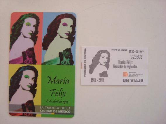Boleto Y Tarjeta Del Metro De Maria Felix - De Colección