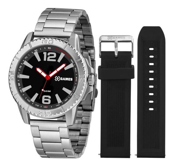 Relógio X-games Aço Xmls0001 P2sx Preto C/duas Pulseiras