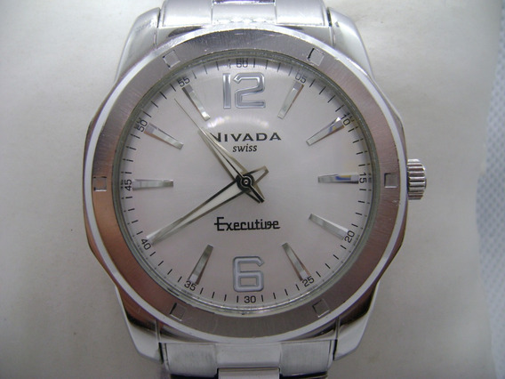 Reloj Nivada Executive Original De Cuarzo Suizo Tamaño Jumbo
