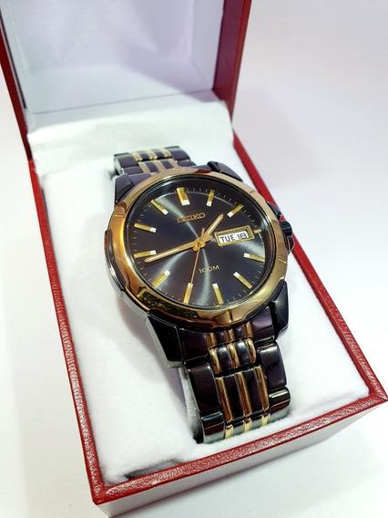Reloj Seiko Caballero Negro Dorado Hombre Cuarzo Original