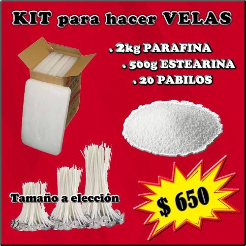 Kit Para Hacer Velas 2kg Parafina 1/2kg Estearina 20 Pabilos