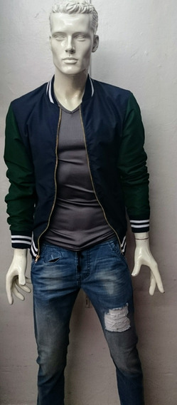 Bomber Jacket Azul Con Verde Hombre