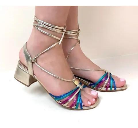 Sandália Amarração Multicolor