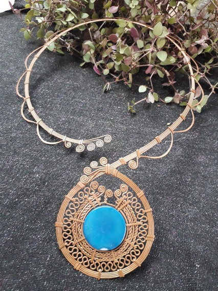 Colar De Filigrana De Cobre Com Pedra Natural De Ágata Azul