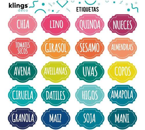 Etiquetas Condimentos Frasco Semillas Especieros Color