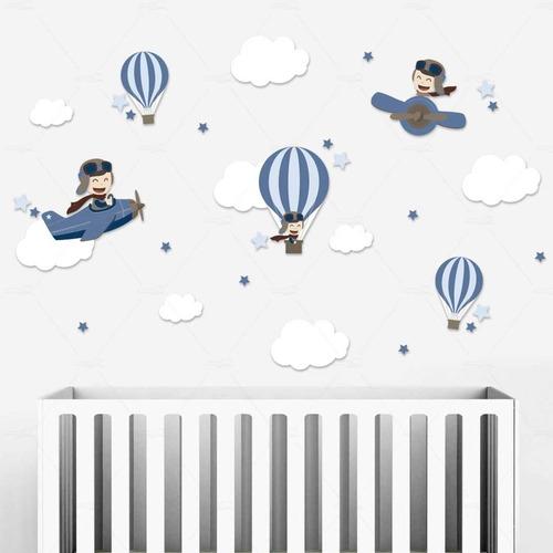 Adesivos Parede Infantil Menino Aviador Balões Balão Nuvens