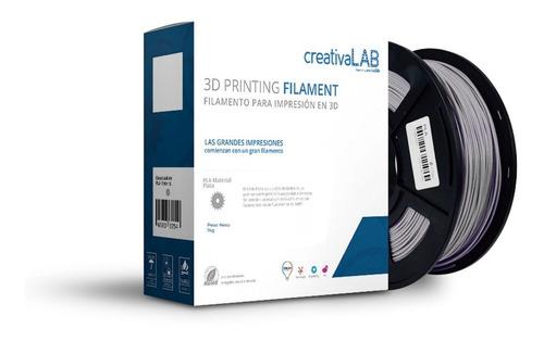 Imagen 1 de 6 de Creativalab - Filamento Creativalab 1.75mm Pla 1kg Plata