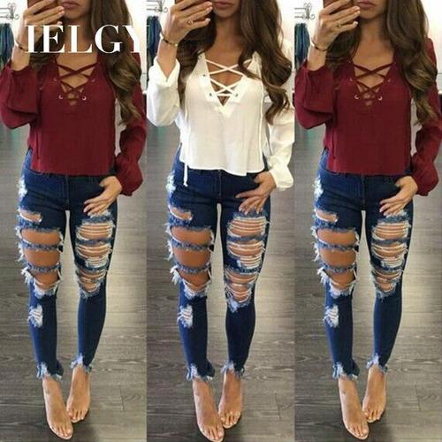 Jeans Rotos Mujer Moda Deshilachado Flecos Caderas Versatil Mercado Libre