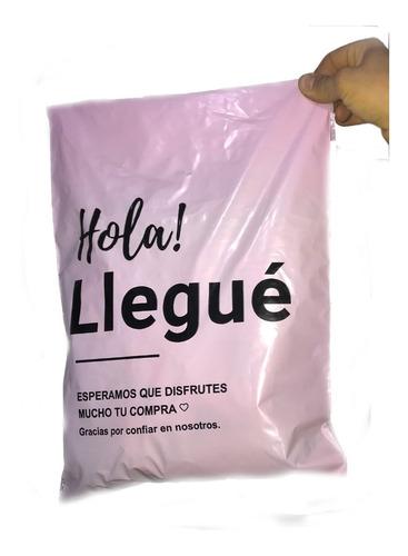 Imagen 1 de 2 de Bolsas Ecommerce Rosa Hola Llegue 30x45 Con Adhesivo  X50u