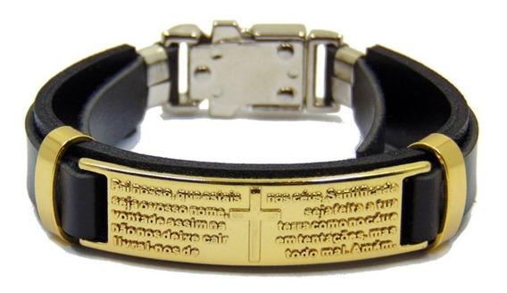Pulseira Bracelete Masculino Couro Pai Nosso