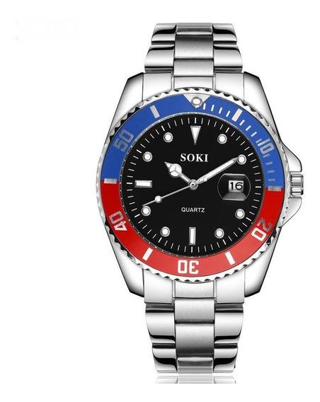 Reloj Soki Steel Japan Movement Nuevo Modelo De Acero Inoxidable Moda Elegante Stainless Steel