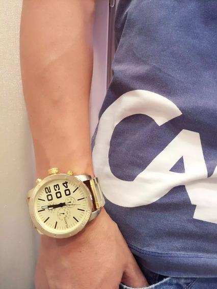 Relógio Masculino Dourado Aço - Promoção Estoque Esgotando