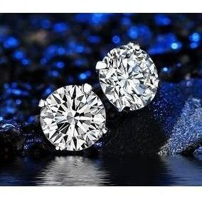 Par Brinco Masculino Prata Pura 925 Pedra Diamante Sintético