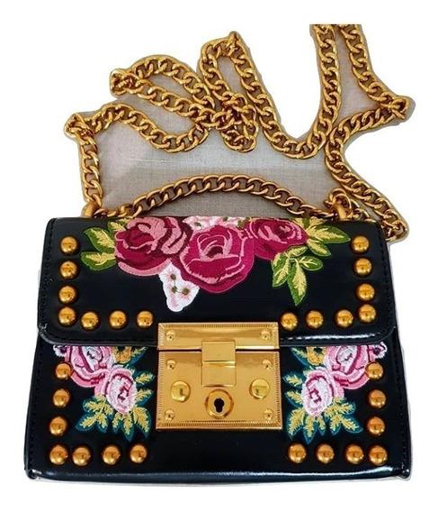 Bolsa Feminina Pequena Bordada Flor Tachas Dourada Blogueira