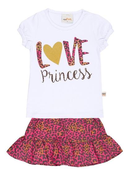 Conjunto Infantil Blusa E Saia Branco Rosa Princess Minifan