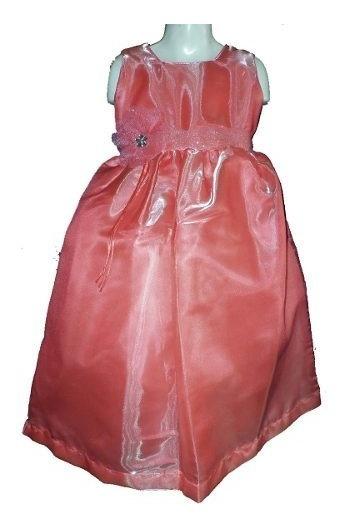 Remate Vestido Largo En Rosa Salmon De Organza Satinada