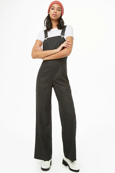 Forever 21 Overol Jumpsuit Grueso Negro Rayas Grises Med
