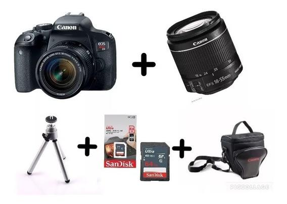 Câmera Canon T7i C/ 18-55mm Stm+ 64gb+ Bolsa+ Tripé C/nf