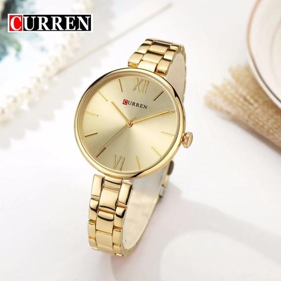 Relógio Feminino Curren C9017l Dourado Pulseira Aço Garantia Entrega Imediata Nota Fiscal