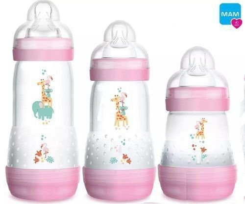 Kit 3 Mamadeiras Mam First Bottle Rosa 0-12m 160 260 E 320ml