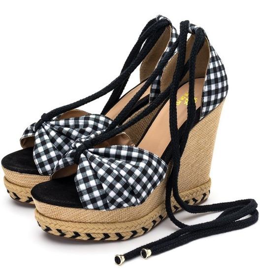 Sandalia Feminina Salto Alto Xadrez Sapato Modesto Envio Pag