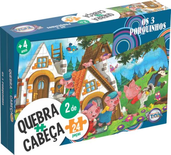 Quebra Cabeça 2 De 24 Peças Puzzle Dos Três Porquinhos Toia