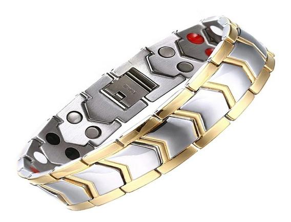 Pulseira Magnética Saúde Aço Titanio Banhado Ouro Magnética