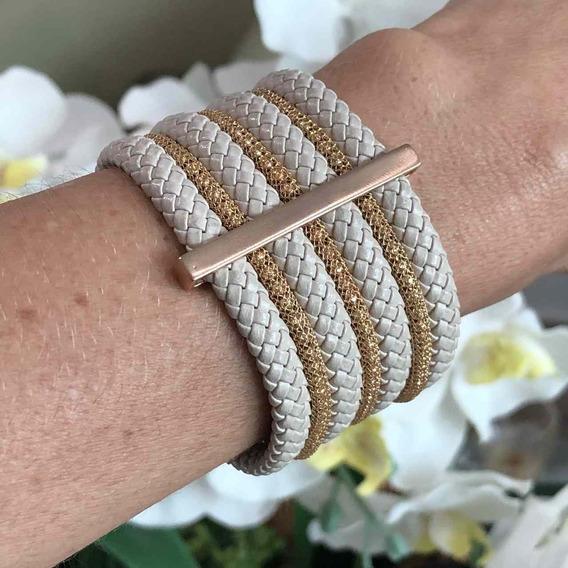 Bracelete Semijoia Folheado Ouro Com Couro