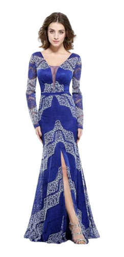 Vestido Largo Sirena Estampado Manga Larga Tajo Moda Pasión