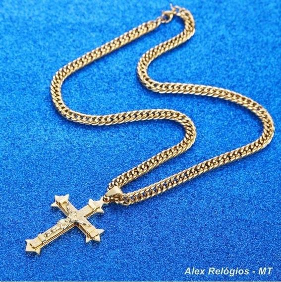 Cordão Grosso+ Crucifixo Grande Masculino Folheados Ouro 18