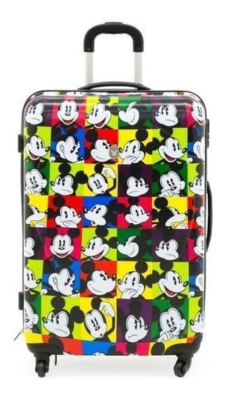Valija Rígida Grande 71 Cm Mickey Mouse 4 Ruedas 360°