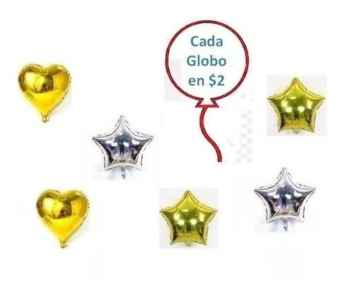 Globos Metalizados Corazon Y Estrella 45cm